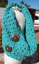 HAND KNIT BLUE SUPER CHUNKY SOFT COWL NECK SCARF WITH BUTTONS & FREE SHIPPING !