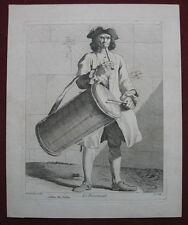 Radierung von C de Caylus: Soldat Trommler Provence 1740/Etching Soldier Drummer
