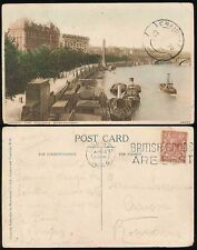 GB to ROMANIA 1926 PPC THAMES BOATS + CLEOPATRAS NEEDLE