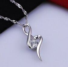 New Bridal Crystal 925 Sterling Silver Infinity Love Necklace Pendant Gift 484