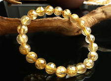 9mm Natural Gold Rutilated Quartz Crystal Beads Bracelet AAA