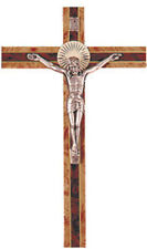 150mm CRUCIFIX WOODEN CROSS METAL CORPUS - STATUES CANDLES PICTURES ALSO LISTED