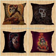 set of 4 cushion covers Muertos sugar skull death cheap white pillow cases