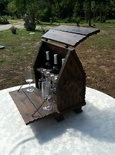 Rare handmade vintage French wood bar drinks cabinet 3 bottle & glasses lockable