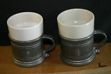 2 VINTAGE WILTON RWP ARMETALE PEWTER WARE MATTE COFFEE/ TEA MUGS CUPS