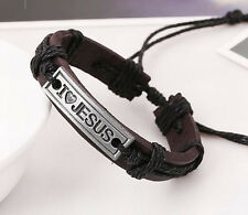 "1pc Trendy Rectangle ""I LOVE JESUS"" Weave Leather Unisex Cuff Bracelet Bangle"
