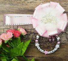 Encanto Cochecito Magnético Personalizadas En Rosa Perlado Para Bebé Niñas Niños Regalo Ideal