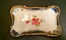Victorian Milk Glass Pin Dish Tray Pink Flowers Scrolled Gold & Blue Border