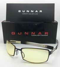 New GUNNAR Computer Glasses PPK 57-20 Onyx Black & Mercury Frame w/ Amber Yellow