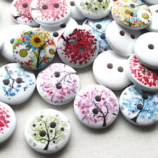 50pcs Tree Wood Buttons 15mm Sewing Craft 2 Holes Wholesales