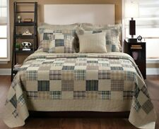 King Size Bedding Patchwork Quilt Set Beige Rustic Country 3 PC Bedspread Shams