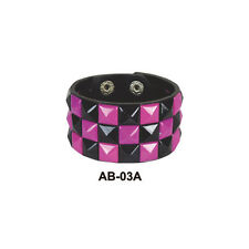 Mens 3 Row Purple & Black Pyramid Studded Wristband Black - Emo Metal Gothic