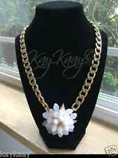 NEW Vetta Ivory White Lone FLOWER STATEMENT NECKLACE Gold Link Chunky NEW YEARS