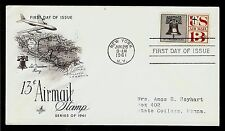 FIRST DAY COVER Liberty Bell Freedom 13c Airmail #C62 ARTCRAFT Addr FDC 1961