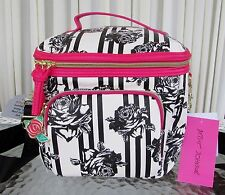 Betsey Johnson Black Roses Stripes Cargo Lunch Tote Insulated Bag Crossbody NWT