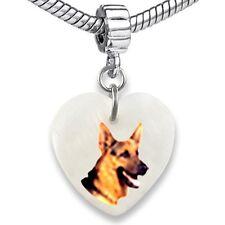 German Shepherd Dog Heart Mother Of Pearl European Bracelet Charm Bead EBS298