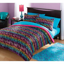 Bedding Set Twin Comforter & Sham Bed In a Bag Rainbow Zebra Reversible Pink