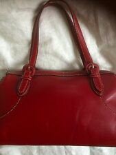 Cole Haan Red Leather Shoulder Bag Baguette Style EUC