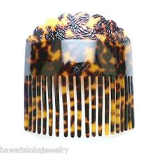 "4.75"" Engraved Faux Natural Turtle Color Demi-Blonde Tortoiseshell Hair Comb #4"