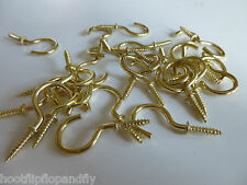 "50 x 1"" 25mm SMALL BRASS PLATED SHOULDERED SCREW CUP HOOKS CRAFT DISPLAY HOOK EB"