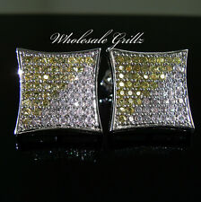 NEW$150 MENS XL CANARY YELLOW SIMULATE DIAMOND WHITE GOLD FINISH HIPHOP EARRINGS