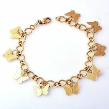 "Vintage Butterfly Charms Womens Bracelet Yellow Gold Plated 8.46"" For Girl"