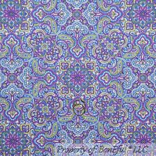 BonEful Fabric FQ Cotton Quilt Purple Blue Green White Flower Damask Paisley Dot