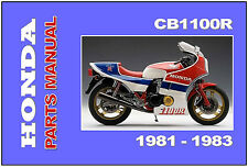 HONDA Parts Manual CB1100 CB1100R 1981 1982 1983 Replacement Spares Catalog List