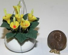 Dollhouse Miniature Plant Hanging Yellow Flower   Minis 1:12 Scale