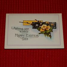 Vintage Postcard Wishing You A Very Happy Easter Day, Yellow Flowers