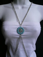 NEW WOMEN NECKLACE BLUE TURQUIZE FLOWER BEADS FASHION METAL BODY CHAIN JEWELRY