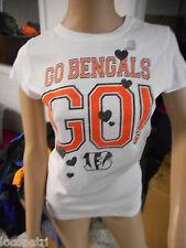 Womens NFL Team Apparel Cincinnati Bengals Go Bengals Go! Glitter Shirt New L