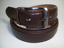 "Men new Dark Brown leather belt with Smoke Color Buckle  50"" #9907"