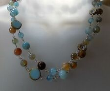 "Genuine Multi-Color Blue Agate station necklace 36"" by Audreygailjewelry"