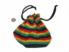 Guatemalan Round Drawstring BAG -  BG01 Stash Pouch Colorful Cloth Purse Rasta