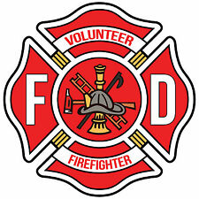 "4"" Volunteer Firefighter Red Maltese Cross Decal"