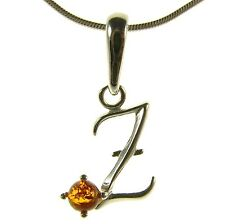 BALTIC AMBER STERLING SILVER 925 ALPHABET LETTER Z PENDANT JEWELLERY JEWELRY