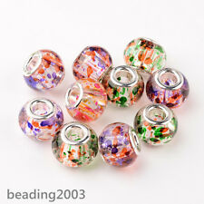 10pcs Mixed Large Hole Rondelle Spray Painted Glass European Beads 15x12mm