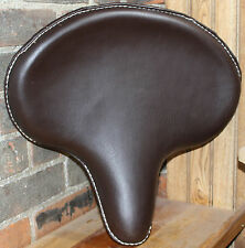 "Large Harley Davidson Motorcycle Chopper Solo Seat Brown Vinyl 17"" W x 16"" L"