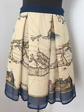 Anthropologie Anna Sui 8 Map Of The World Skirt Silk Pleated Beige Multi-color