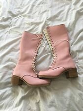 amazing 1990s baby pink leather lace up knee high gogo boots chunky heel 6/39