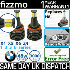 FIZZMO BMW H8 48w COB LED ANGEL EYE HALO RING LIGHT BULB XENON WHITE ERROR FREE