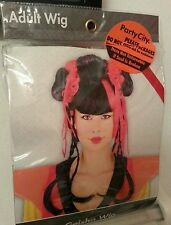 Womens Geisha Wig Black Red Halloween Costume Cosplay Hair Great Cond Braids