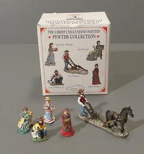 5 Piece Liberty Falls 1998 Handpainted Pewter Miniature Town Figurines  AH161