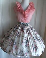 vintage 50s 2 piece gray pink abstact flower mini skirt pink ruffle top lucy day