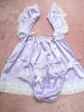 PRETTY BABY DOLL  SATIN SISSY DRESS AND PANTY  SIZE 2X PURPLE COLOR ONLY