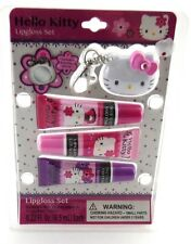 Hello Kitty Lipgloss Set - 3 Lipglosses & Hello Kitty Clip on Keychain Mirror