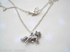 *CUTE 3D FOX CHARM* Necklace Tibetan Silver SP 18 INCH chain GIFT BAG Foxy