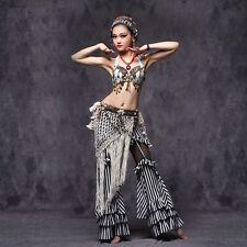 Tribal Style Blouse+Long Pants+Hip Belt 3pcs set Belly Dance Costumes Dancewear