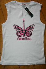 Hank made in Hollywood white cotton vest Glam Rock size Small crystals butterfly